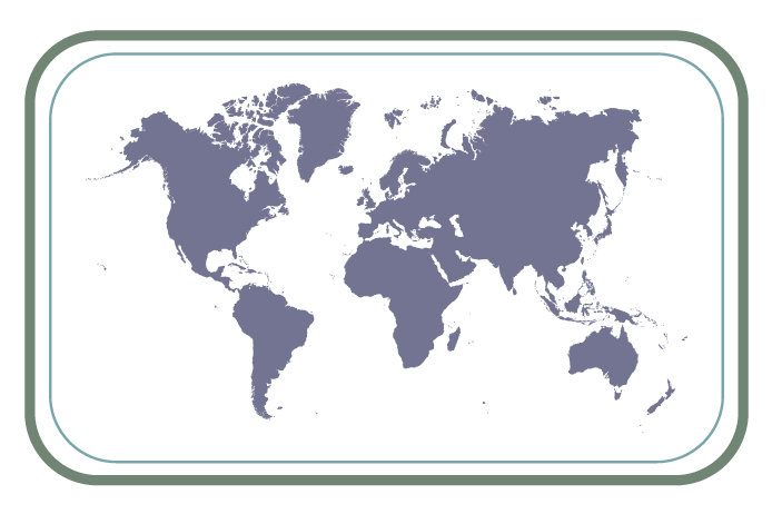 world map purple with green and blue border
